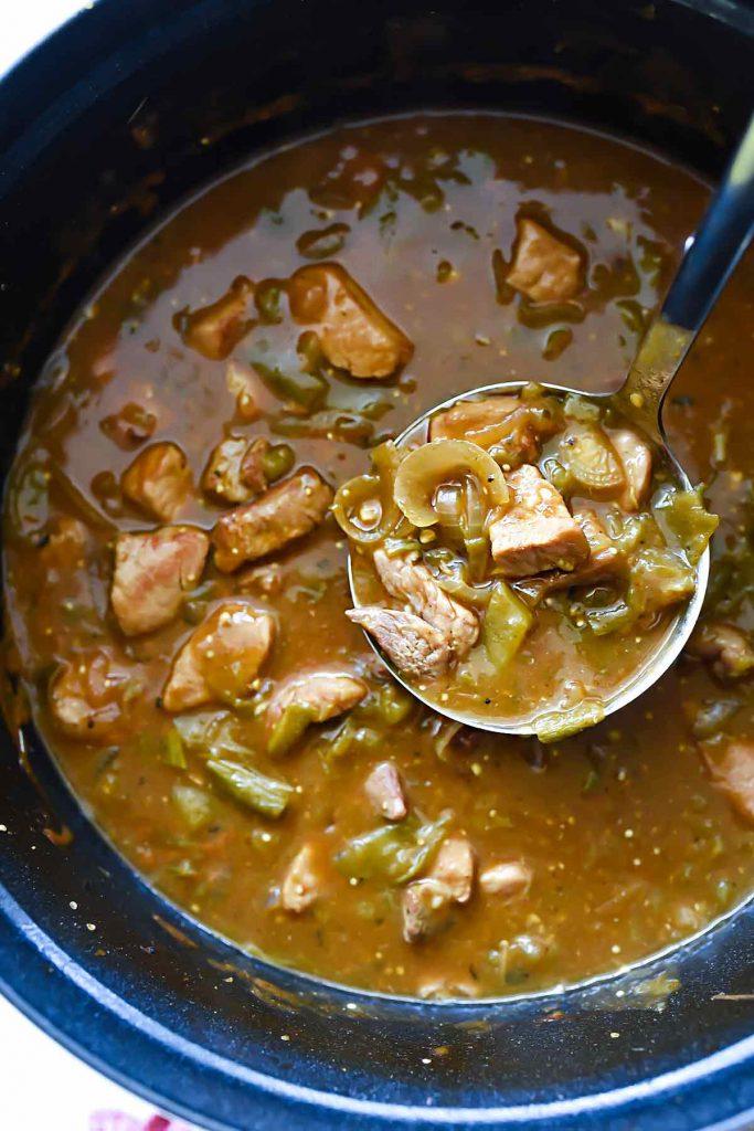 Quick and Easy Homemade Chile Verde   #chile #verde #pork #quick #easy #recipe #dinner #burritos foodiecrush.com