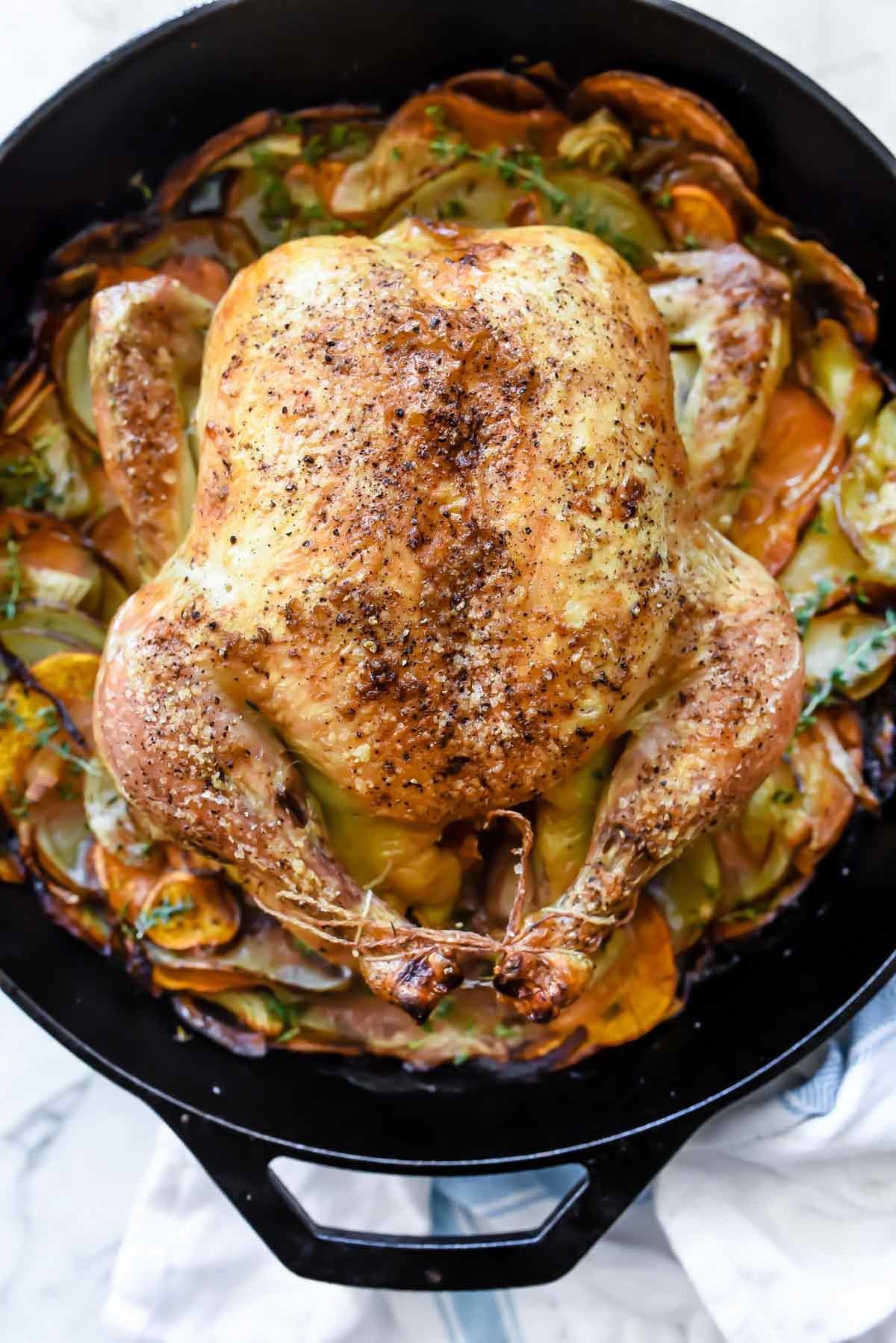 Cast Iron Skillet Roasted Chicken With Potatoes