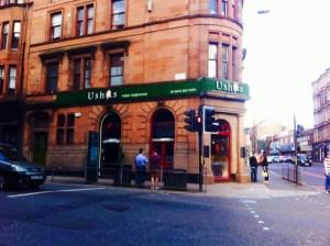 Outside Usha's vegetarian restaurant food drink Glasgow blog