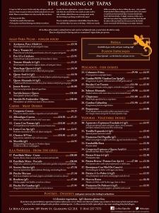La boca tapas Glasgow menu