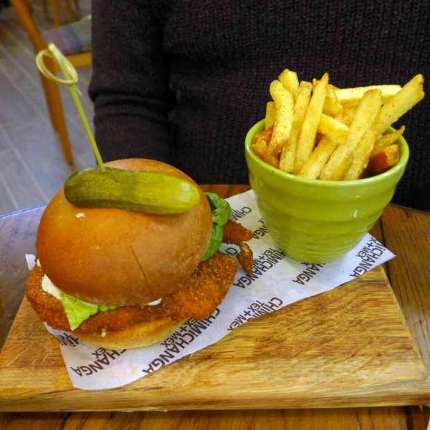 Chimmichanga - Buffalo chicken burger