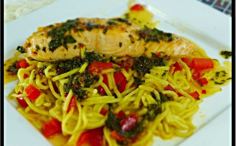 Scottish salmon on a bed of Asian ginger noodles