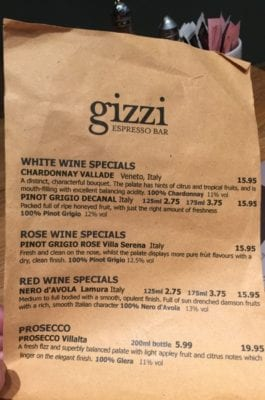 Gizzi's Shawlands Southside Glasgow menu