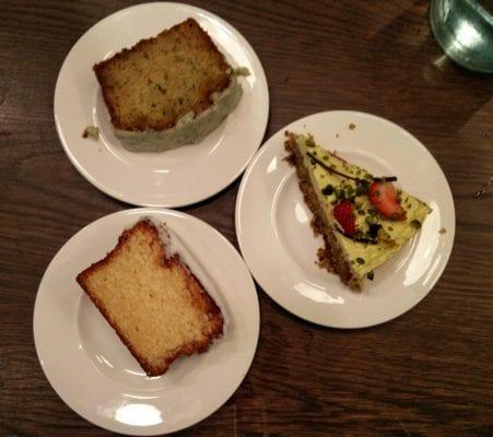 Lemon drizzle; mint, lime & courgette; pistachio cake