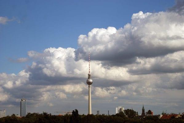 Berlin TV tower from Mauer museum