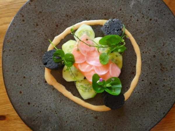 sea trout, brown crab, nero gnocchi, pickled cucumber