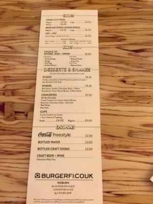 BurgerFi London review menu