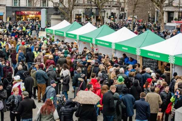 St Patrick's Day street food market crowd