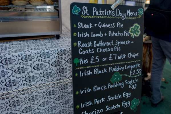 St Patrick's Day street food market menu