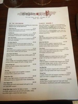 Glasgow food blog dragon i menu