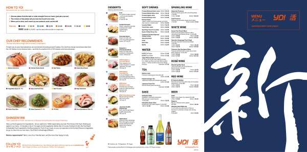 Yo! Sushi new opening glasgow Menu
