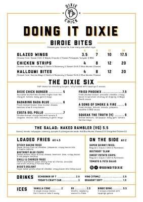Dixie Chick Ashton Lane MEnu