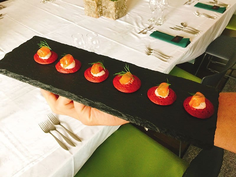Cater at Old Town Chambers by Barry Bryson - smoked salmon on beetroot blini canape