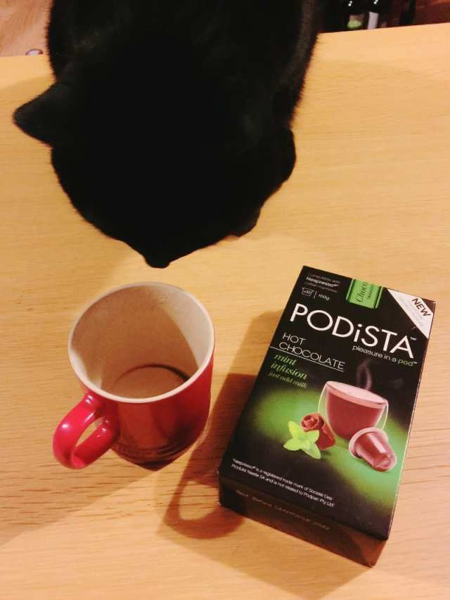 Fred the cat likes Podista mint infusion from Mugpods