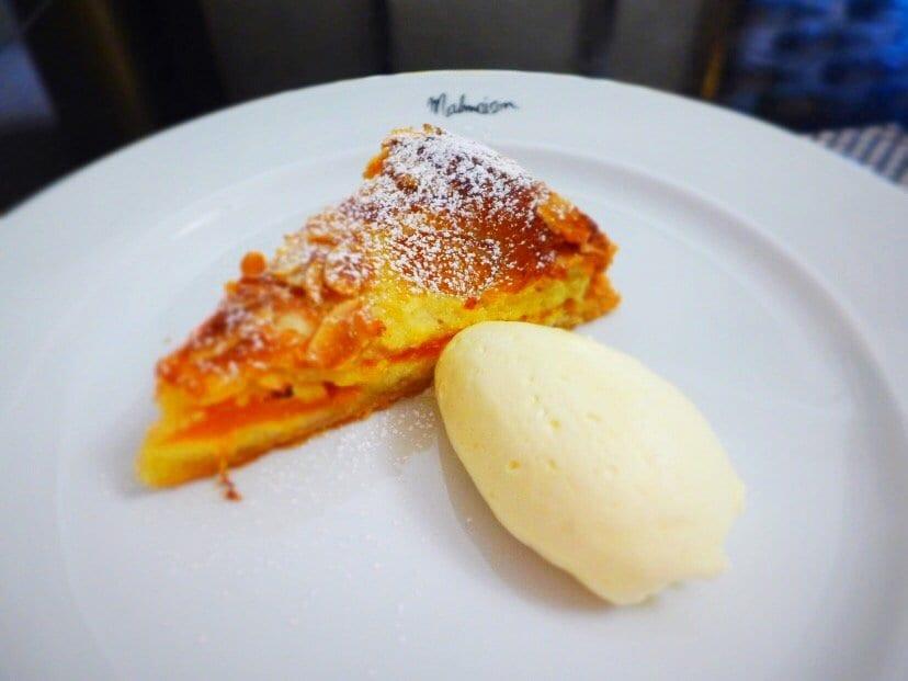 Warm Apricot and Almond Tart with Amaretto Creme. Malmaison, Glasgow