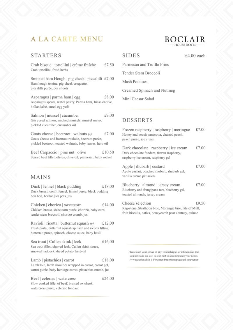 Boclair house Bearsden West End Glasgow Summer Menu