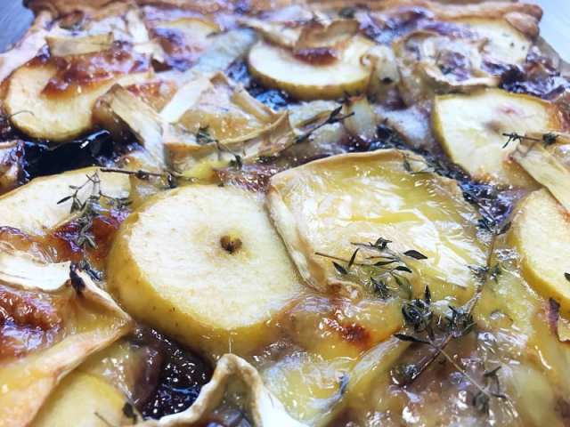 Brie Apple and onion tart recipe foodie explorers