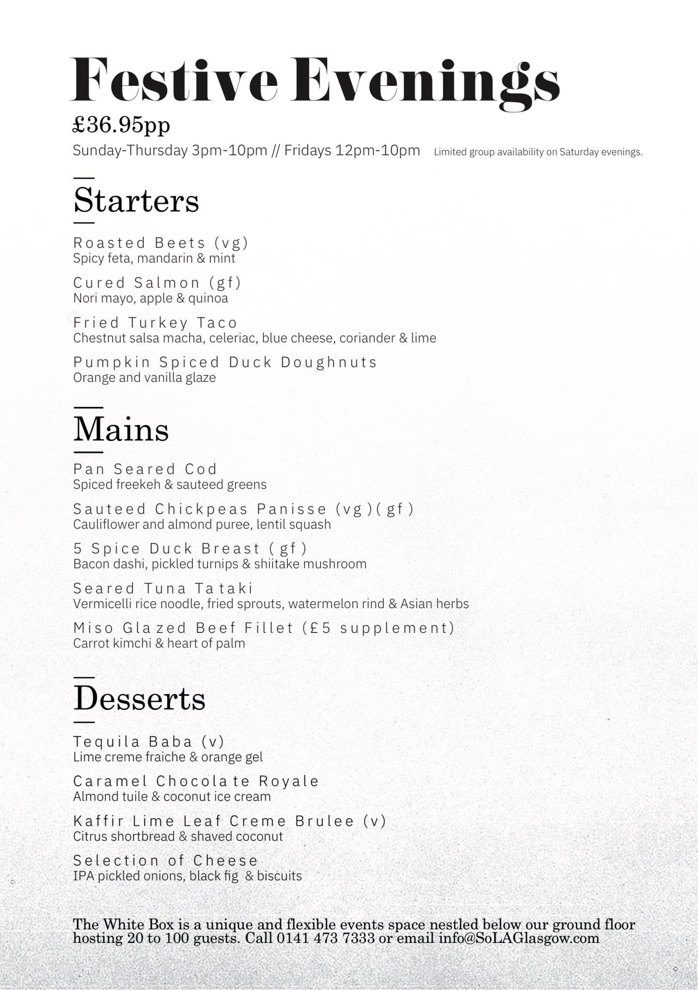 So L.A. Glasgow Menu new Opening Christmas menu