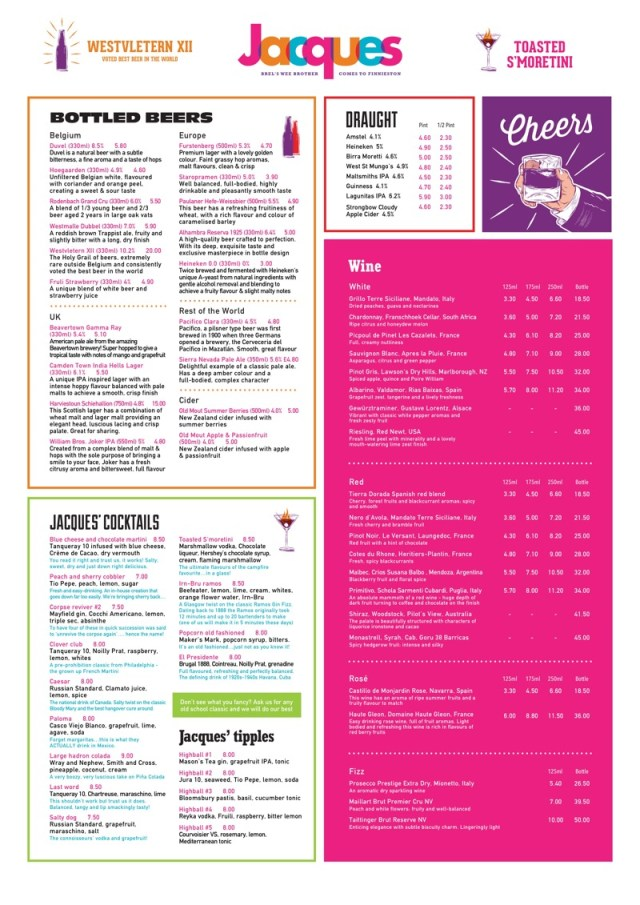 Drinks menu Jacques Finnieston bar restaurant Brel itison West End