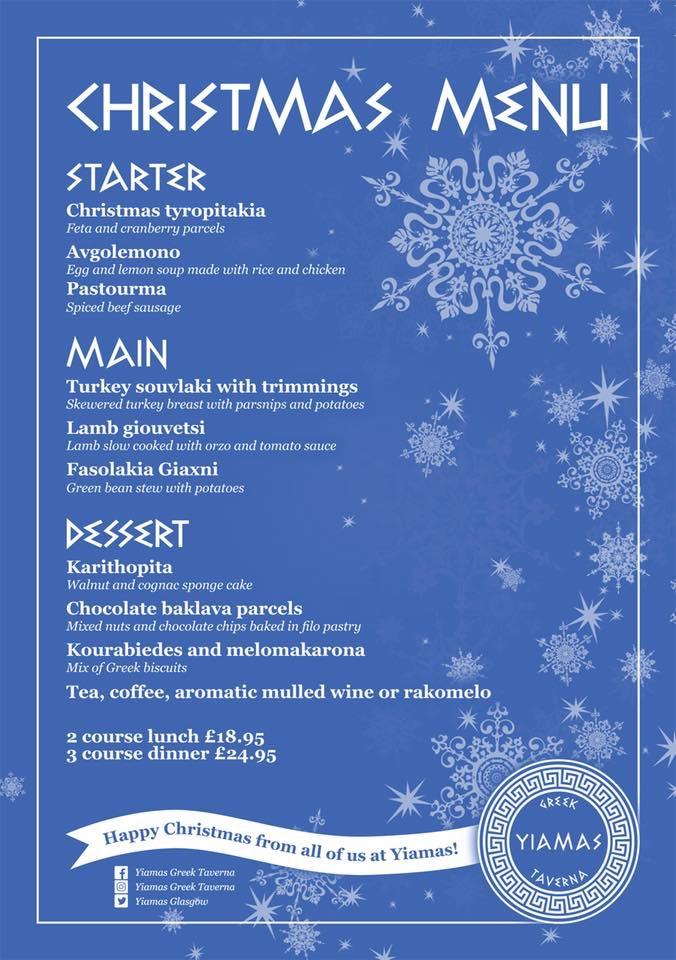 Yiamas Greek Christmas Menu lunch dinner Glasgow