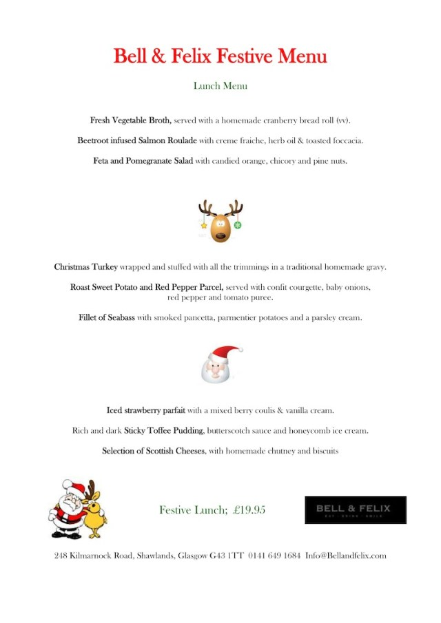 bell and felix christmas menu