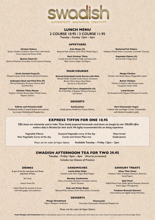 Swadish Indian glasgow menu