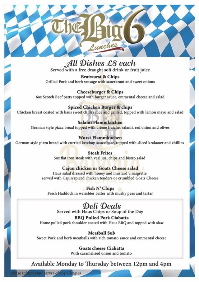 Bavaria Brauhaus Glasgow new lunch menu