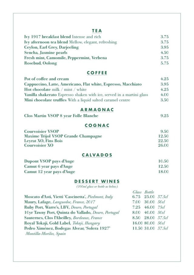 The Ivy glasgow Drinks menu