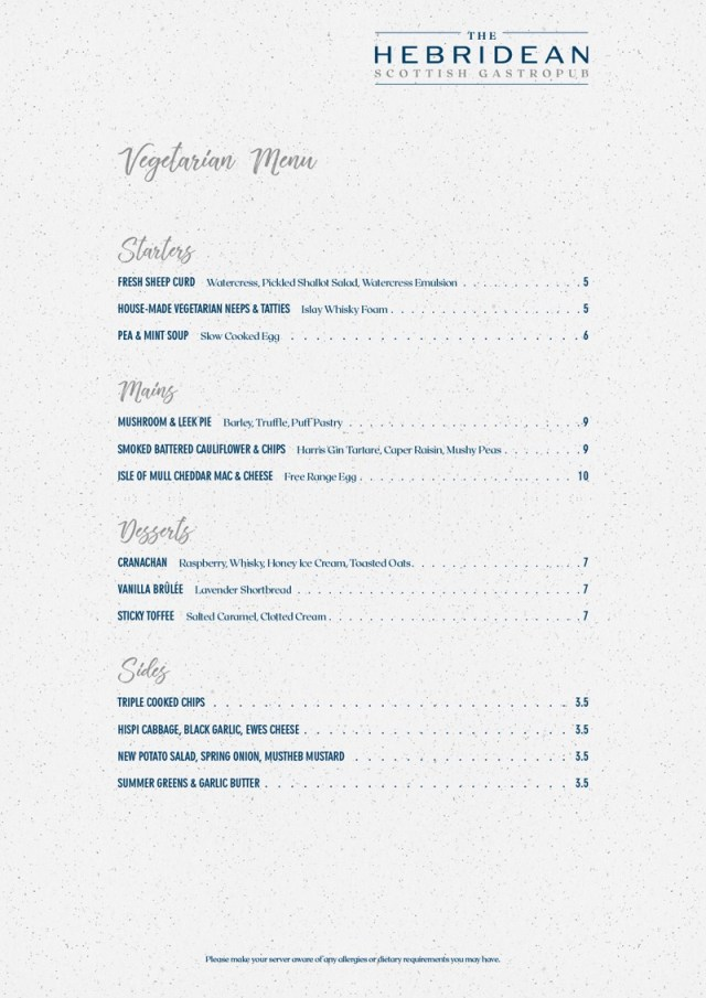 The Hebridean great western road Glasgow Vegetarian menu