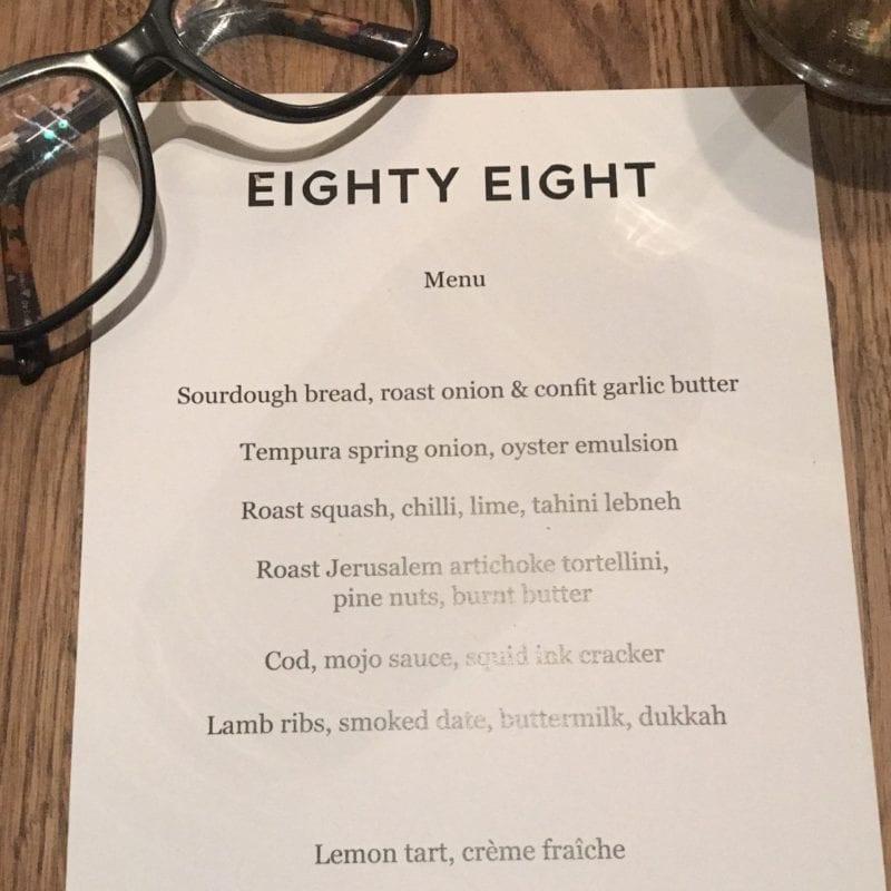 Eighty eight Dumbarton Road partick menu