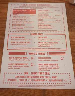 Food menu meat stack at sweet recreation