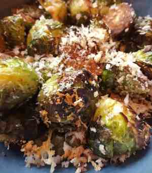 air fryer crispy parmesan brussels sprouts