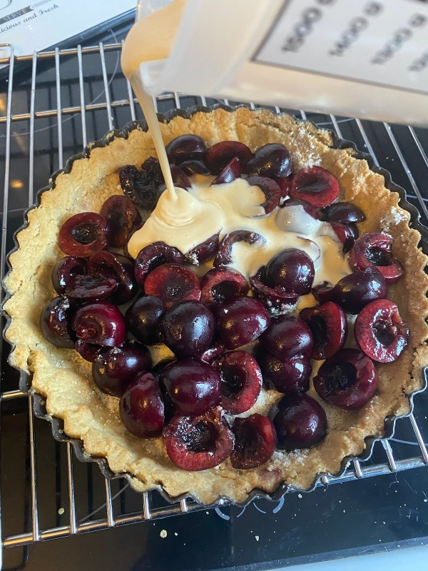cherry tart adding filling