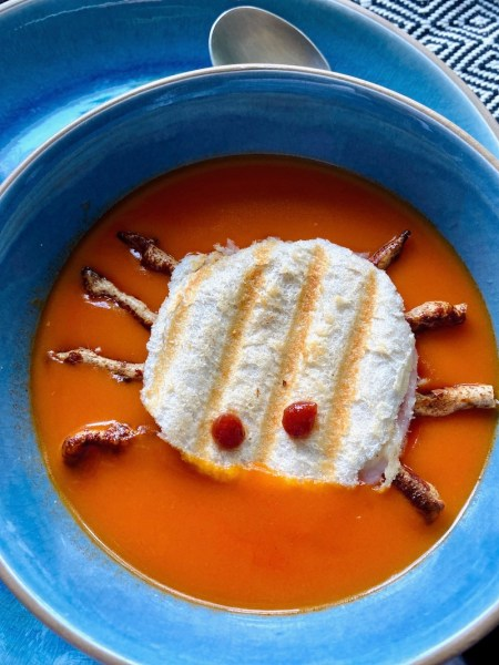 halloween grilled cheese toastie in soup