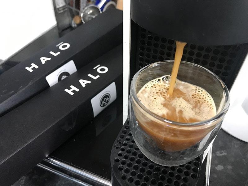 Halo coffee pod pouring