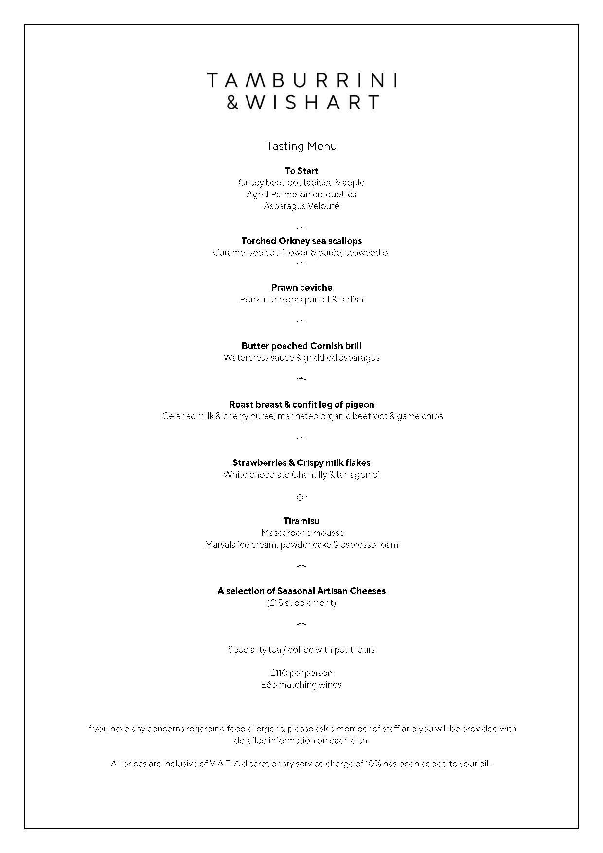Tamburrini and Wishart tasting menu