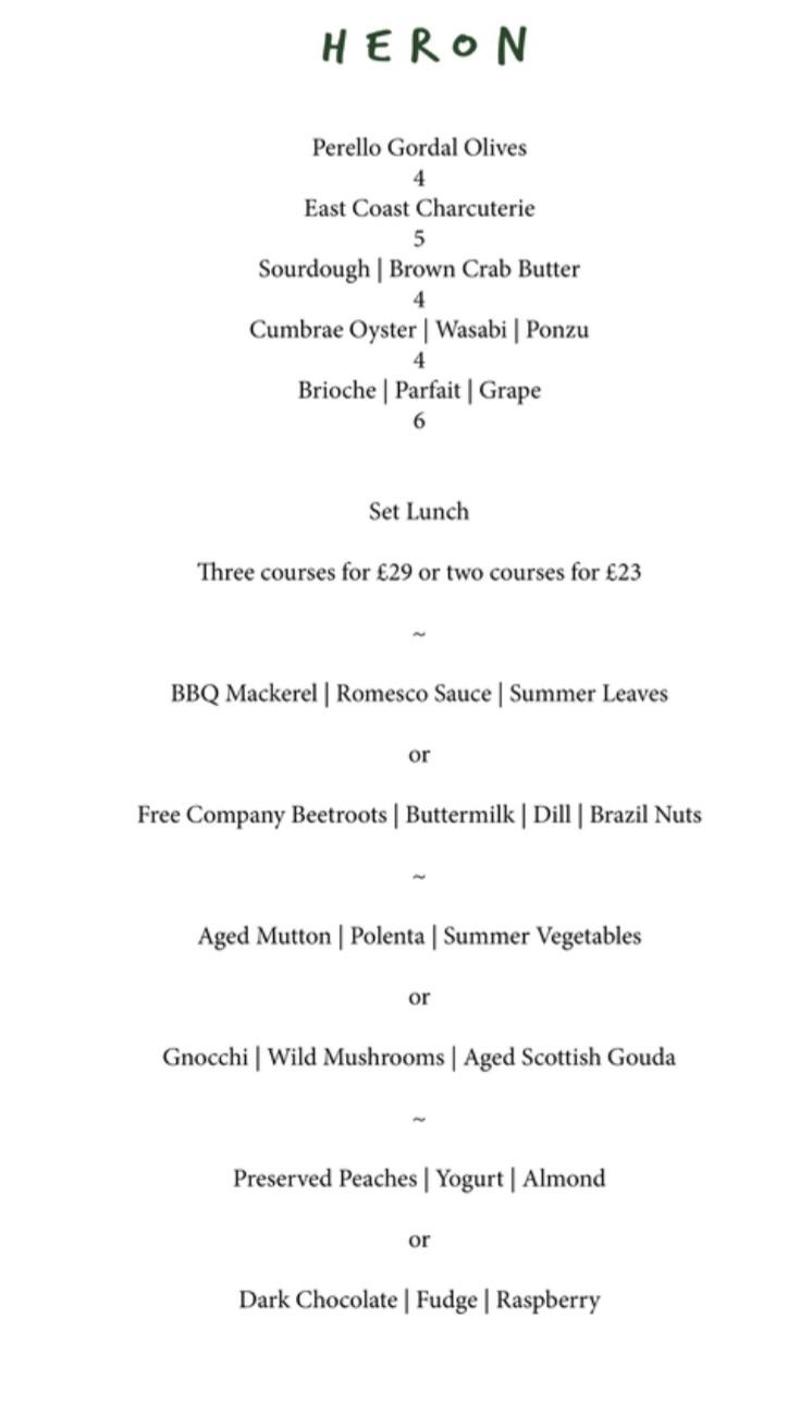 Heron leith lunch menu