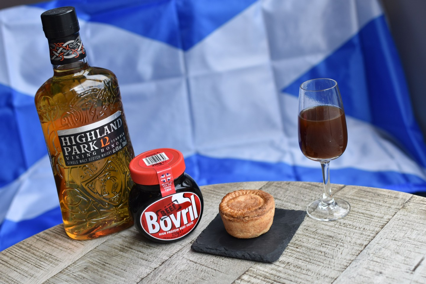Signature group bovril whisky and meat pie