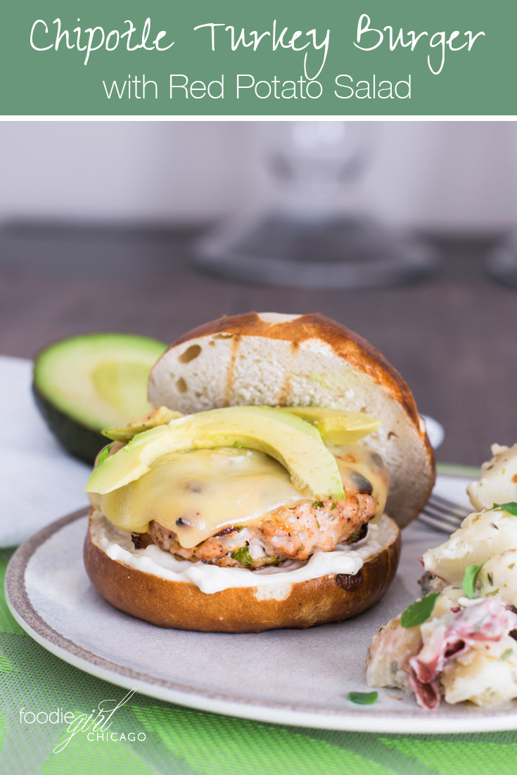 These easy grilled chipotle turkey burgers are served with a side of a red-skinned potato salad to make a great summer meal.