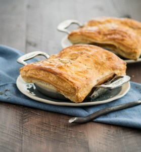 Beef & Stout Pot Pies with puff pastry crust in mini gratin pans