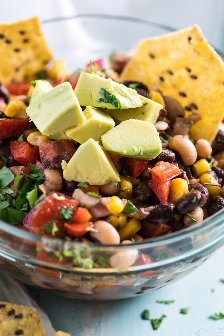 Healthy Cowboy Caviar with avocado