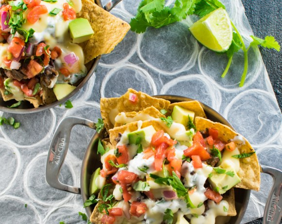 Cheesy Game Day Black Bean Nachos