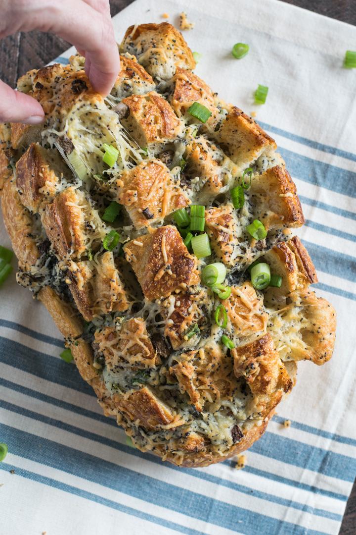 Cheesy Swiss & Mushroom Pull Apart Bread
