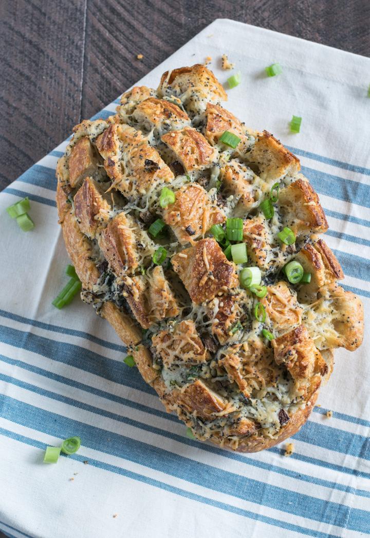 Cheesy Swiss & Mushroom Pull-Apart Bread