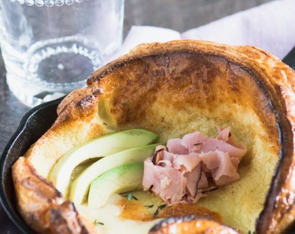 Mini Savory Dutch Baby Pancake with Ham, Swiss & Avocado