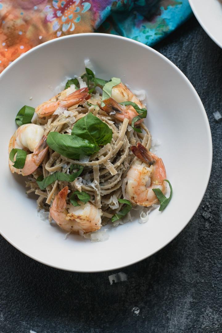 Shrimp Linguine with Lemon Artichoke Pesto