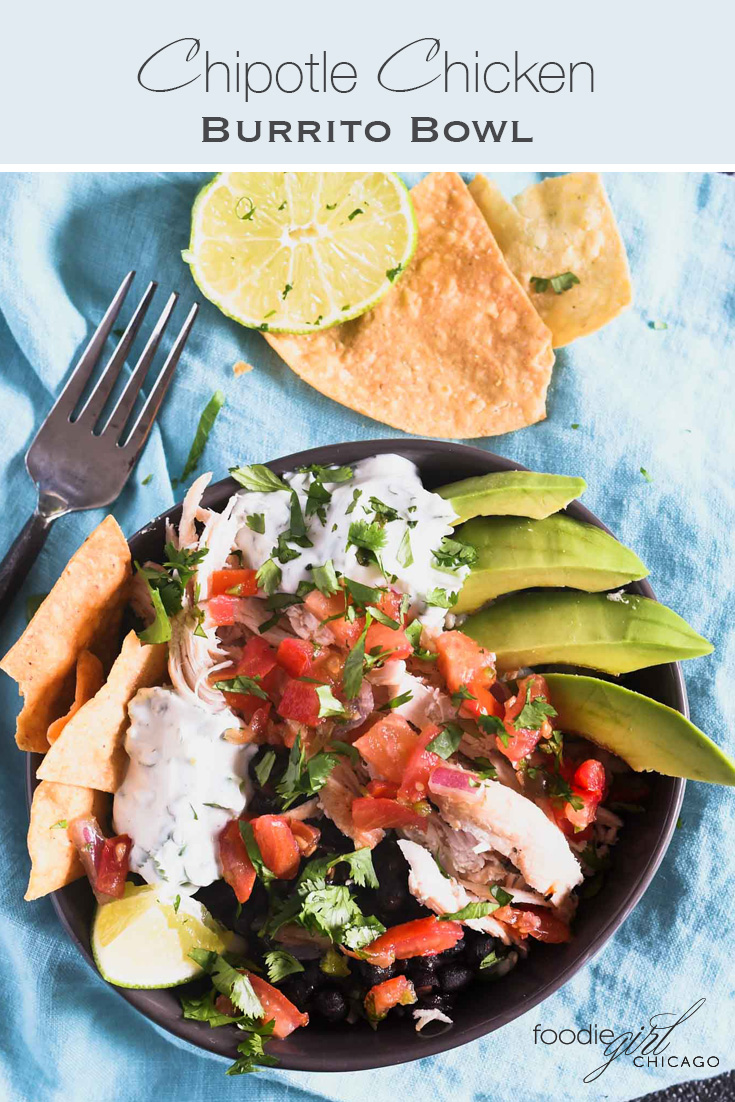 If you love Mexican food this Chipotle Chicken Burrito Bowl is a recipe you'll want to try! It provides an amazing combination of flavors and gets an extra kick from the cilantro lime sauce. It's a healthy option that will quickly become a lunch or dinner staple at your house!