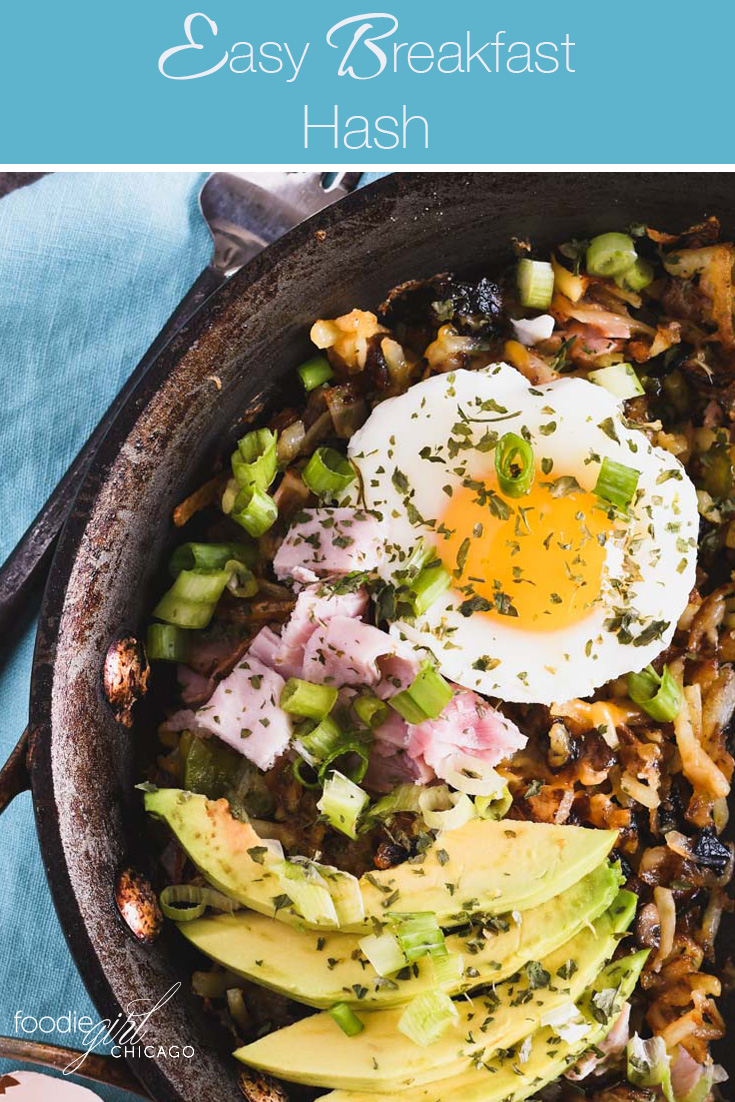 This breakfast hash uses frozen potatoes and gets topped with ham, avocado and a poached egg for a quick weekend breakfast!