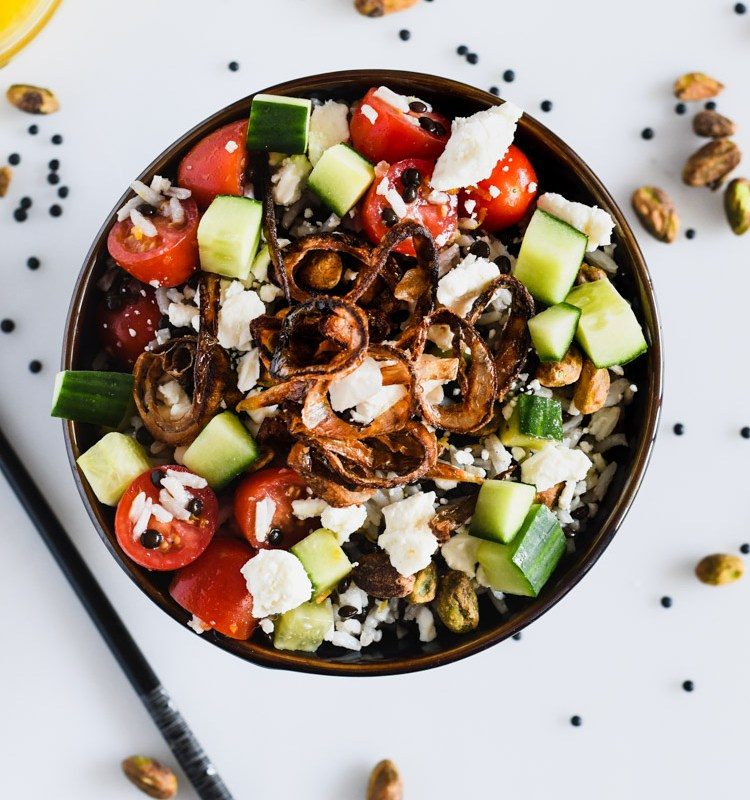 This rice salad boasts some unique flavors in the form of beluga lentils, pistachio and an orange vinaigrette!