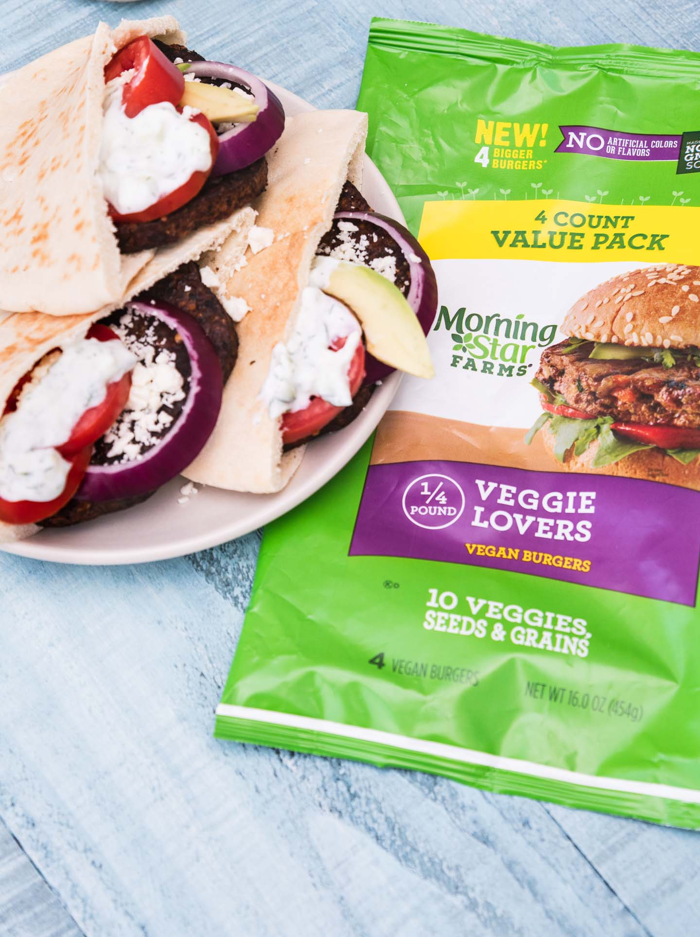 Greek-inspired veggie burgers with Morningstar Farms packaging